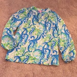 Lilly Pulitzer crystal blue Elsa blue green top
